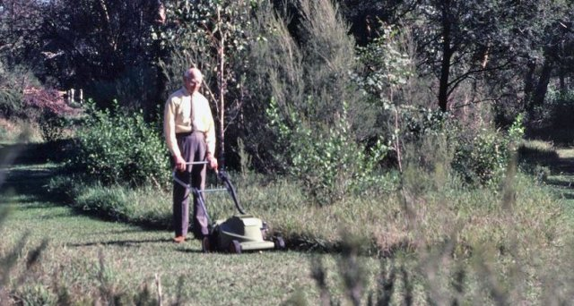 Mr Osborn mowing the maze
